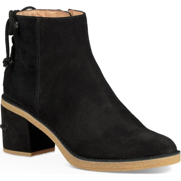 Black Suede Ankle Boots Wool Lined Zip